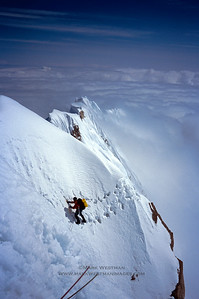 Forrest Murphy on a cornice traverse high on Mount Hunter's south ridge.  This photo was featured in Black Diamond's product catalog and as a promotional poster for Black Diamond at the OR trade show in Salt Lake City in 2007.