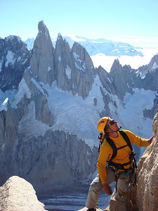 Eamonn Walsh on Aguja Poincenot's Carrington-Rouse route, west face.