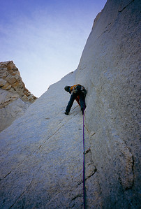 Colin Haley climbing beautiful rock on Chiaro di Luna, Aguja St. Exupery.