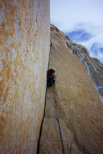 Colin Haley climbing Fitzroy's Franco-Argentine route.