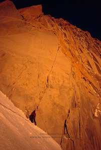 Colin Haley preparing to climb Fitzroy's Franco-Argentine route on the southeast face.
