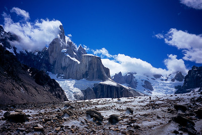 Cerro Torre from the Torre Glacier on a beautiful day.