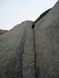 Yuko Schmitt climbing on Torre de Media Luna.