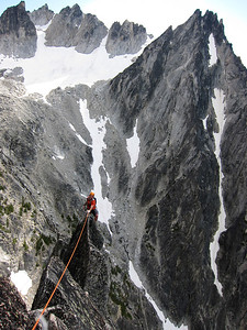 "The exciting final pitch of ""Acid Baby"" on Jaberwocky Tower in the Enchantments, Alpine Lakes Wilderness, Cascade Mountains."
