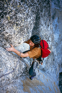 Colin Haley climbing on Lucky Streaks, Fairview Dome, Yosemite National Park.