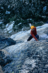 Joe Puryear leading the first pitch of the Boving Route on South Early Winters Spire, Washington Pass, North Cascades, Washington.