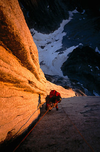 Jugging in the alpenglow, All Along the Watchtower, North Howser Tower, British Columbia.