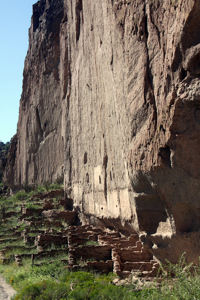 Indian ruins and cliff face, Bandelier National Monument, New Mexico.