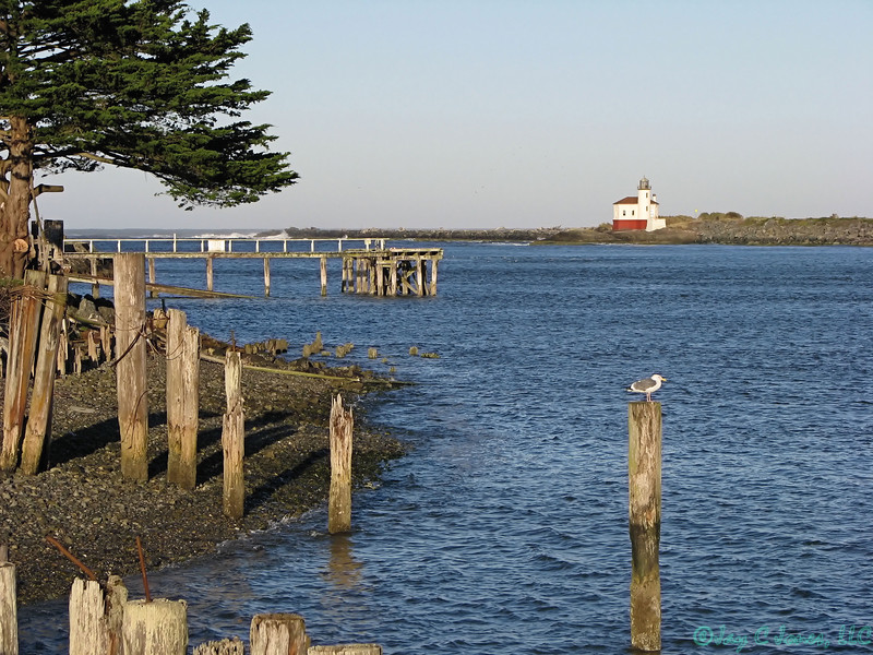 Coquille River and Lighthouse, Bandon, Oregon