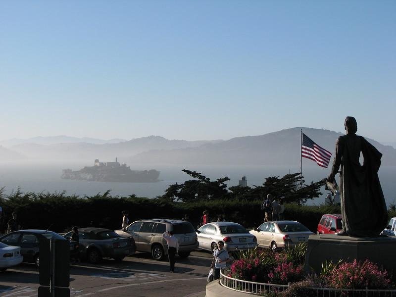 Alcatraz Island looking from Coit Tower, San Francisco, California