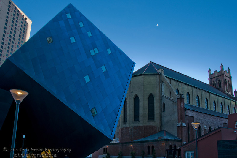 Blue Cube with Moonrise