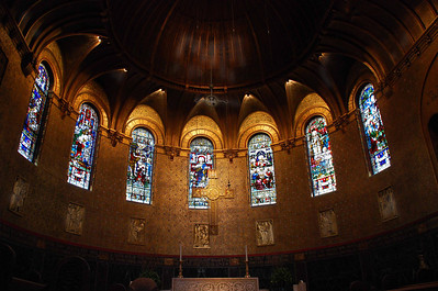Stained glass above alter, Boston.