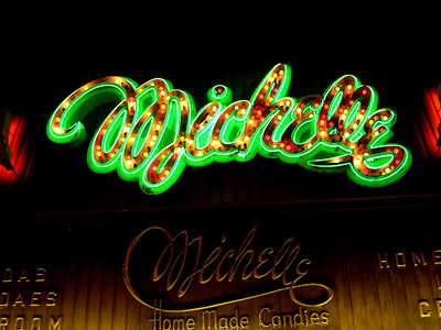 Neon sign, candy store, Colorado Springs, CO.