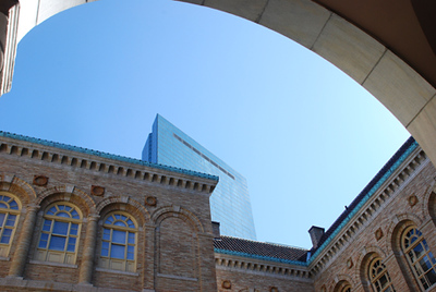 Hancock Building from Boston Library courtyard.