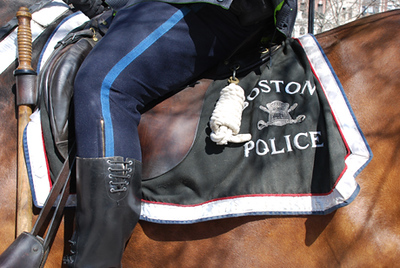 Boston Mounted Police Horse with saddle and Mounted Policeman.  Copley Square