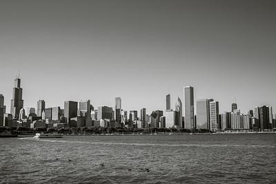 Chicago skyline black & white