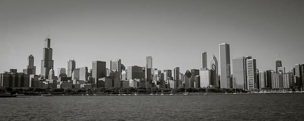 Chicago skyline panoramic black & white