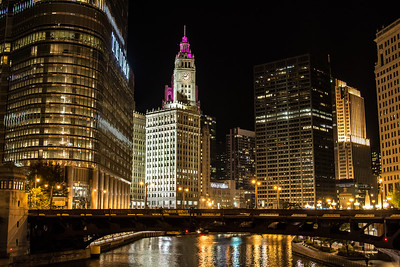 Wrigley building from Chicago river at night #2