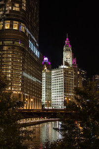 Wrigley building from Chicago river at night #3