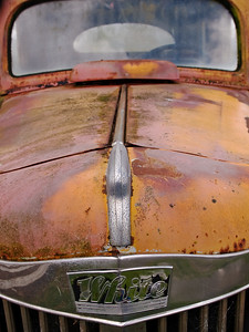 "Rusty orange truck ""White"" in Oregon Pacific Northwest"