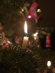 Candle and ornaments on Christmas tree 2