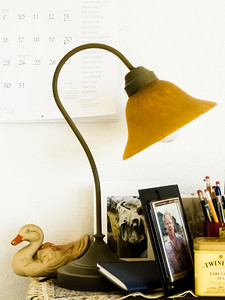 Lamp and carved duck on table.