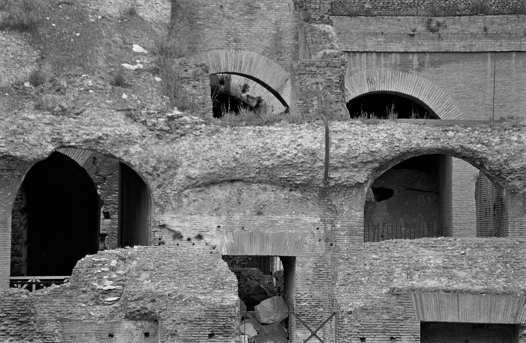Colosseum wall and arches, Rome, 1985, Kodak TX.