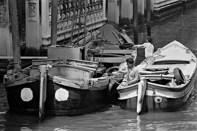 Work boats on a canal in Venice, Italy, 1985, Kodak TX.