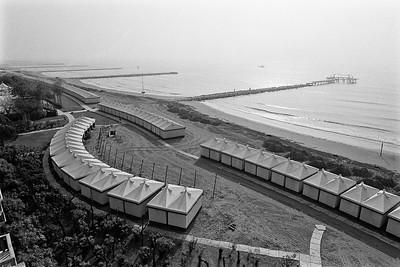 Beach houses on the Lido, Venice, Italy, 1985, Kodak TX.