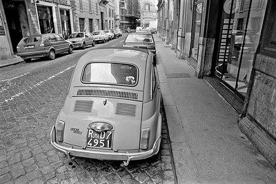Fiat 500 parked on a street in Rome, Italy, 1985, Kodak TX