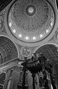 Dome of St. Peter's cathedral interior, Vatican, 1985, Kodak TX.