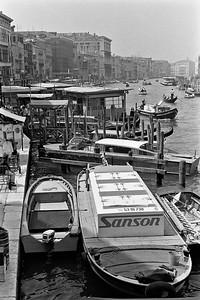 Boats and gondolas on a canal in Venice, Italy, 1985, Kodak TX.