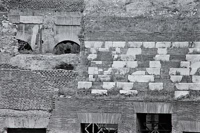 Colosseum wall detail, Rome, 1985, Kodak TX.