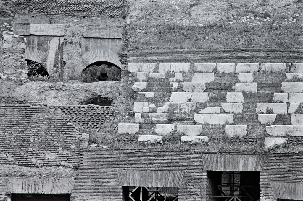 Colosseum wall detail, Rome, 1985, Kodak TX.