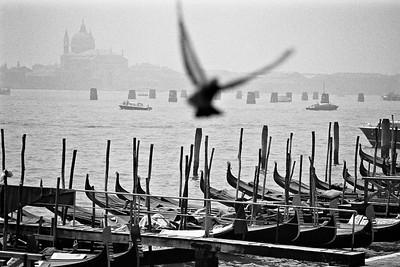 Gondolas and city skyline, Venice, Italy, 1985, Kodak TX.