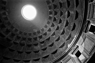 The interior of the Pantheon showing the oculus, Rome, Italy, 1985, Kodak TX.