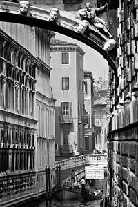 Buildings along a canal in Venice, Italy, 1985, Kodak TX.