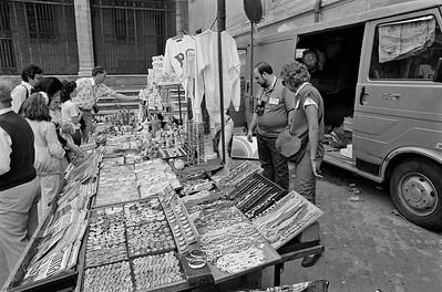 Souvenier vendor in Rome, 1985, Kodak TX.