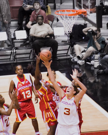 """All American Girls"" - Kodak Picture of the Day, May 7, 2006.<br /> This picture is very special to me because it is a picture of my niece, Jayne, in a very special event - The McDonald's All American High School Girls Basketball Game. The All American team is made up of the top players in the nation. Jayne received the Most Valuable Player award. Jayne is now playing for Stanford."