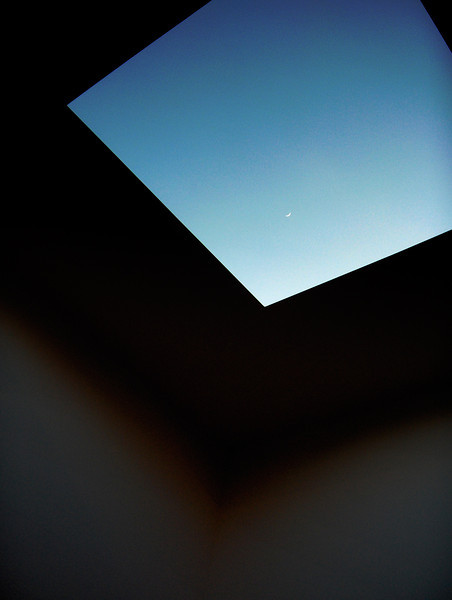 James Turrell sculpture with crescent moon