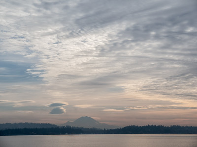 Mt. Rainier and Lake Washington from Magnuson Park, Seattle, Washington, 2013.