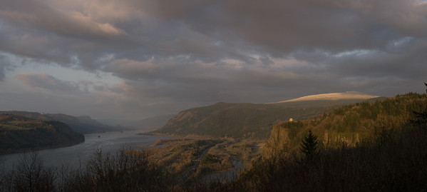 A view looking east along the Columbia Gorge from the Menucha Conference Center. Crown Point lookout. Oregon.