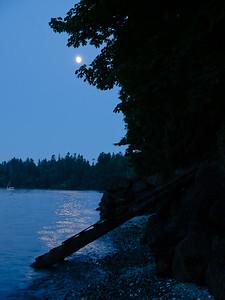 Moonlit stairway down to the water, Bainbridge Island, Washington