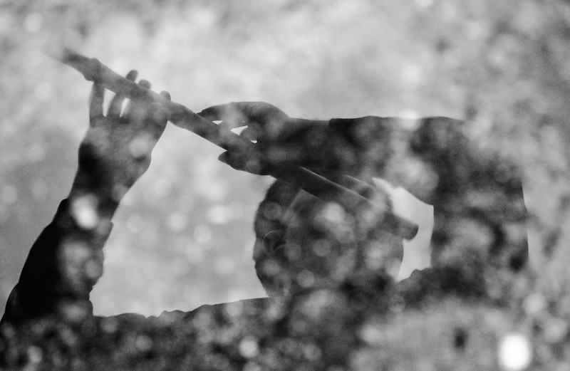 Baroque Flute Player reflection in water