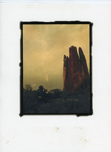 Cathedral  with Sky Flare: Garden of the Gods, Colorado.  Gilded Photograph on Vellum.  See Image Notes button.