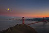 Moonrise over San Francisco and Golden Gate Bride
