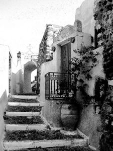 A sketch version of the narrow walk and blue door in Santorini