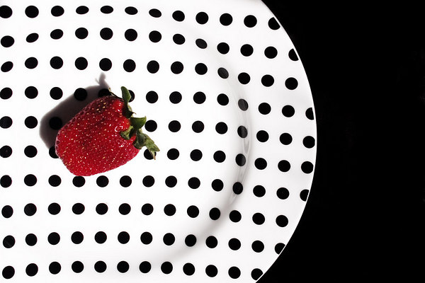 Strawberry on Plate - left