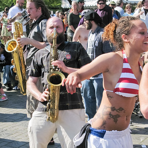 Saxophone players and dancers at the Folklife Festival, Seattle, Washington, 2008.