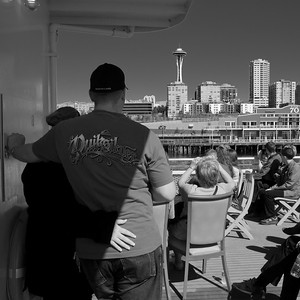 Faber Prime Birthday Cruise. Tourists on cruise. Space Needle.